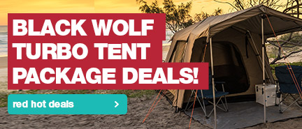 Snag yourself a Black Wolf Turbo Tent and accessories at red hot prices.