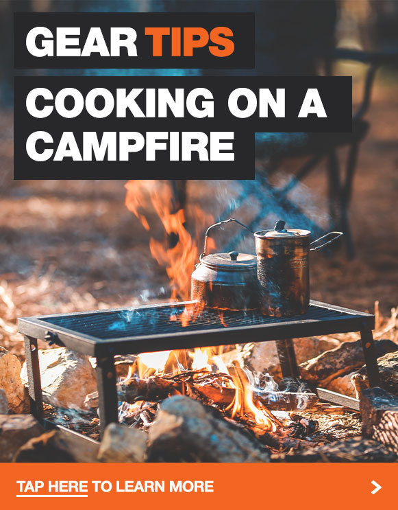 A list of campfire cooking gear designed for an open flame of a campfire