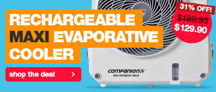 31% off the Companion Rechargeable Maxi Evaporative Portable Cooler for camping normally $179.95 down to $129.90