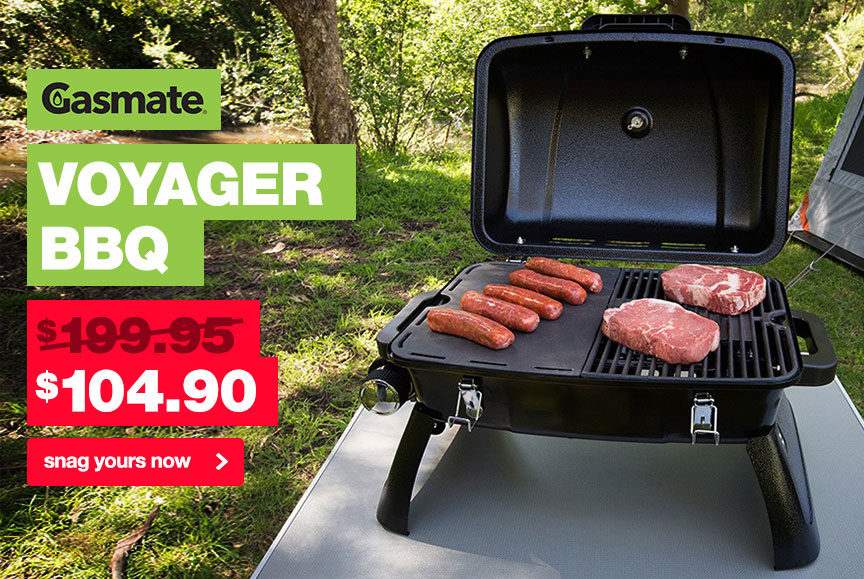 Red hot prices on the popular Gasmate Voyager BBQ, now only $104.90