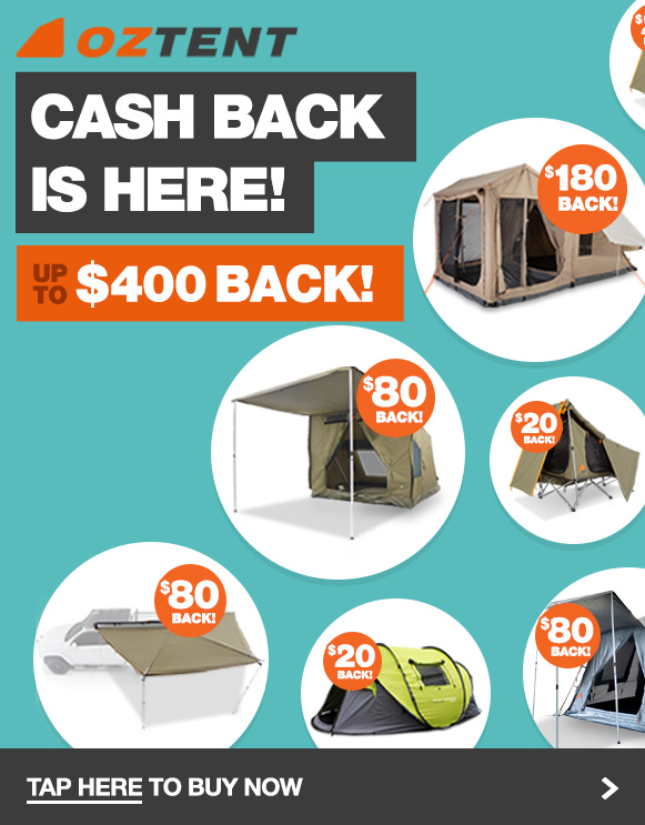 Buy Oztent products to get up to $400 cash back