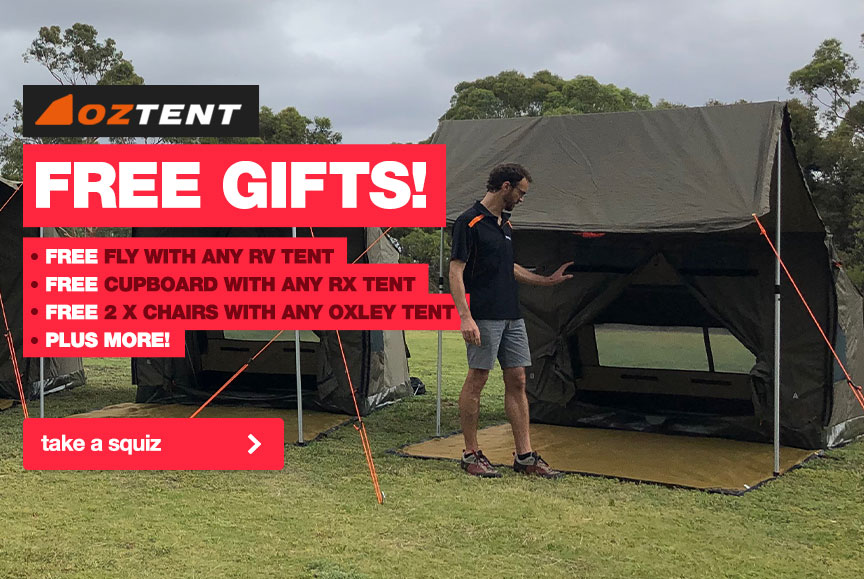Free gift via redemption promotion for selected Oztent tents and shelters purchased between March 11 and April 30 2019