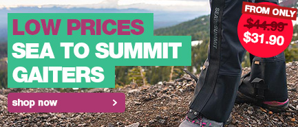 Our lowest prices Sea to Summit Gaiters in time for bushwalking season.