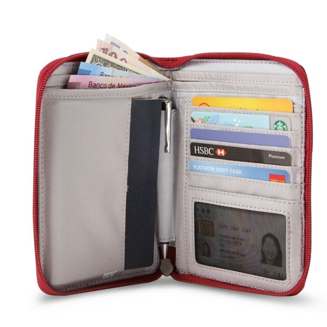 Pacsafe RFIDsafe W150 Travel Organiser - Open with cards and money placed inside