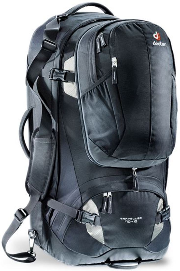 Traveller 70+10 Travel Pack Black Silver