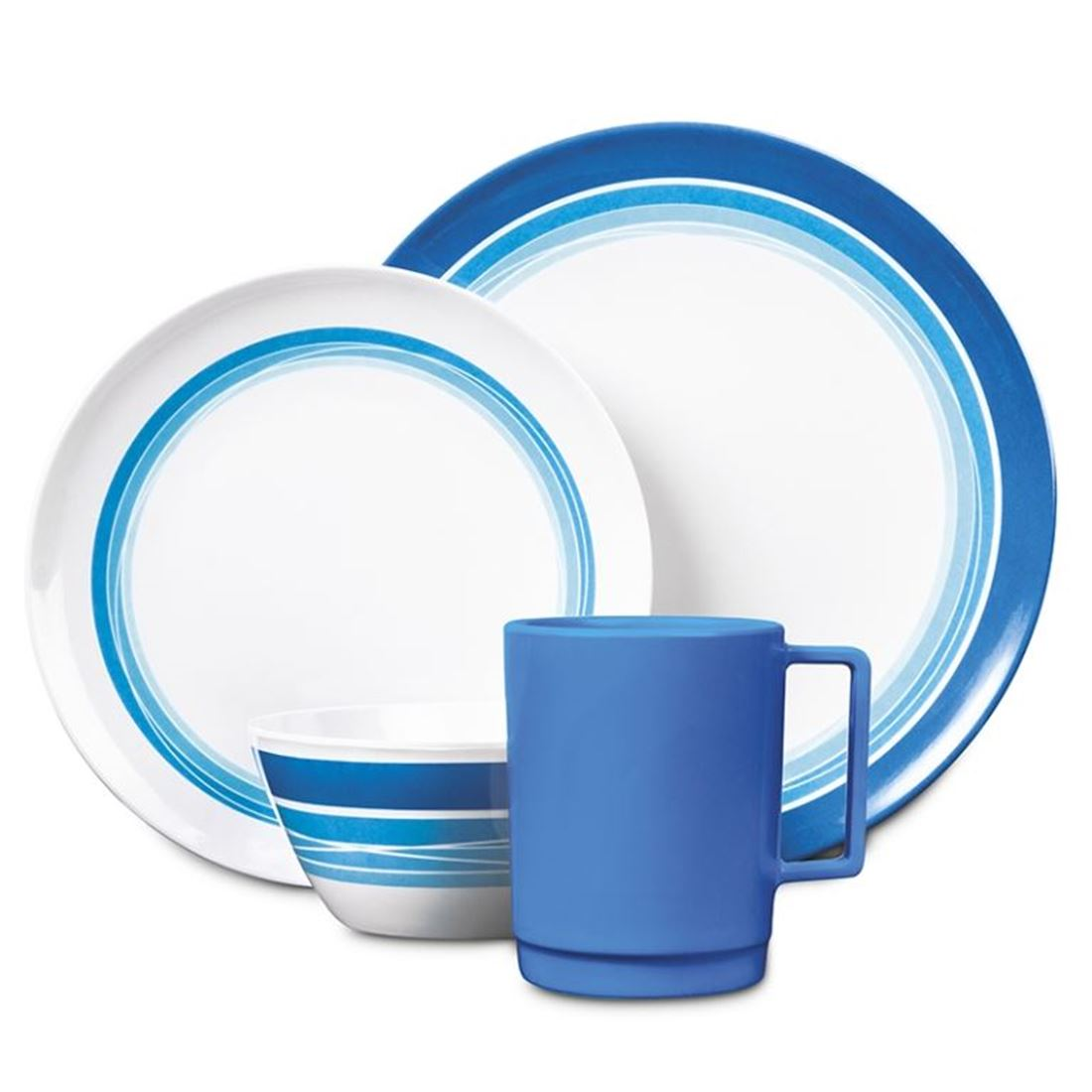 Picture of Campfire 16pc Melamine Dinner Set - Ocean Blue
