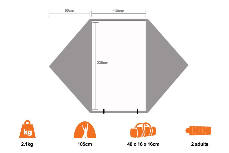 ... Outer Limits Backpacker Tent - Floorplan  sc 1 st  Snowys & Oztrail Outer Limits Backpacker Tent | Snowys Outdoors