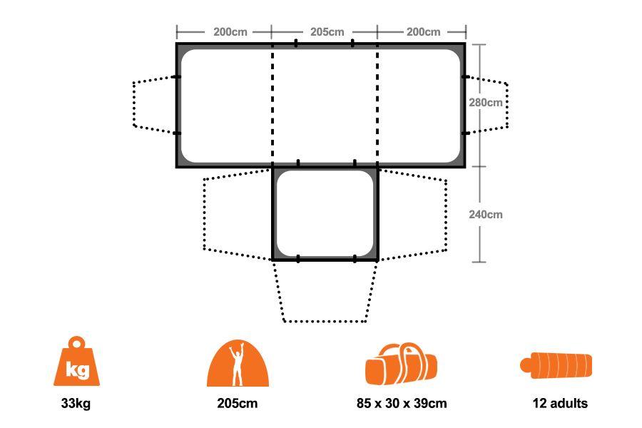 ... Villa Dome Tent 20th Anniversary Ed - Floorplan  sc 1 st  Snowys & Oztrail Villa Dome Tent 20th Anniversary Ed | Snowys Outdoors