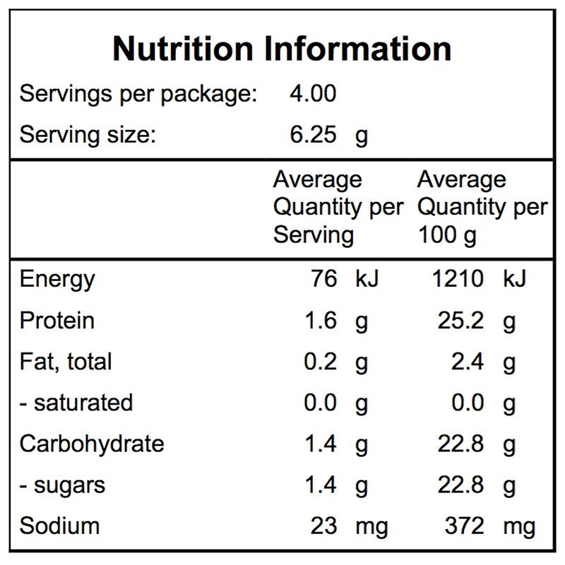 Campers Pantry Freeze Dried Cauliflower Nutritional Information