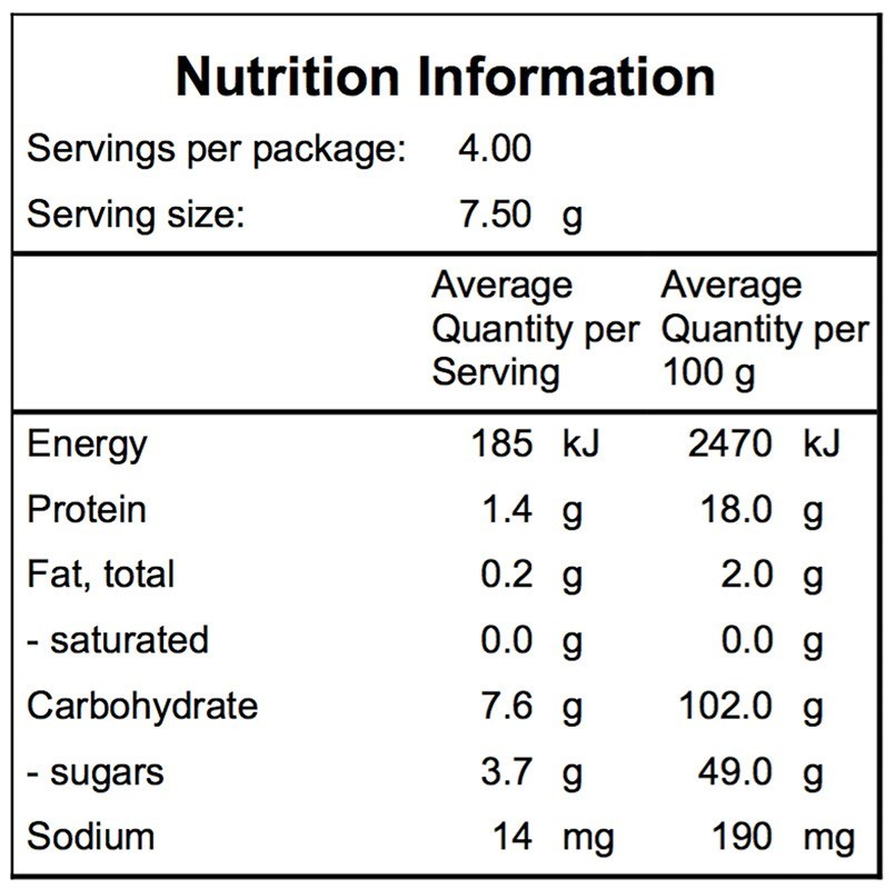 Campers Pantry Freeze Dried Parsnip Nutritional Information