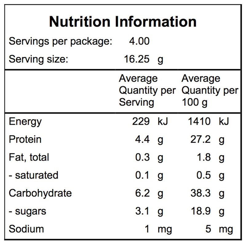 Campers Pantry Freeze Dried Peas Nutritional Information
