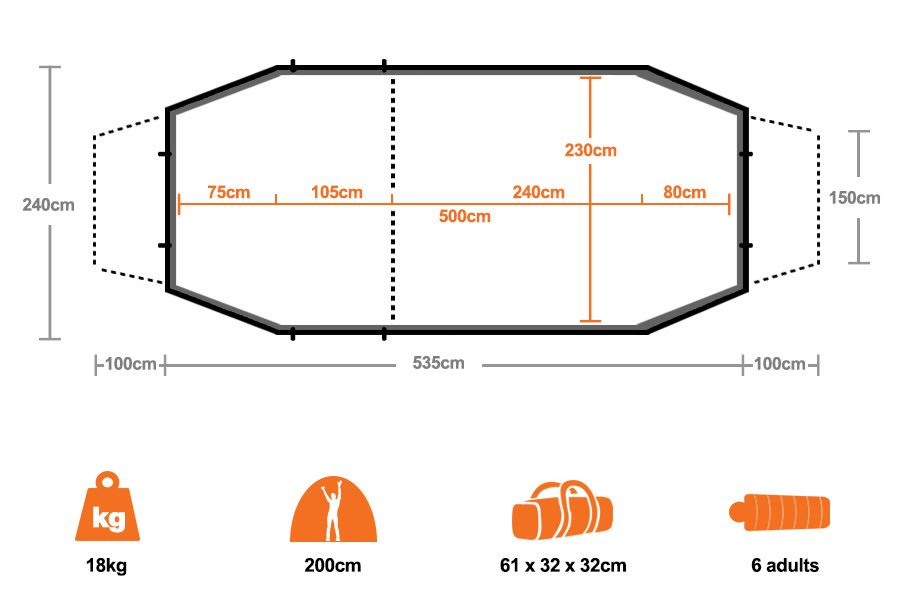 Lakeside 6 Geodesic Tent - Floorplan