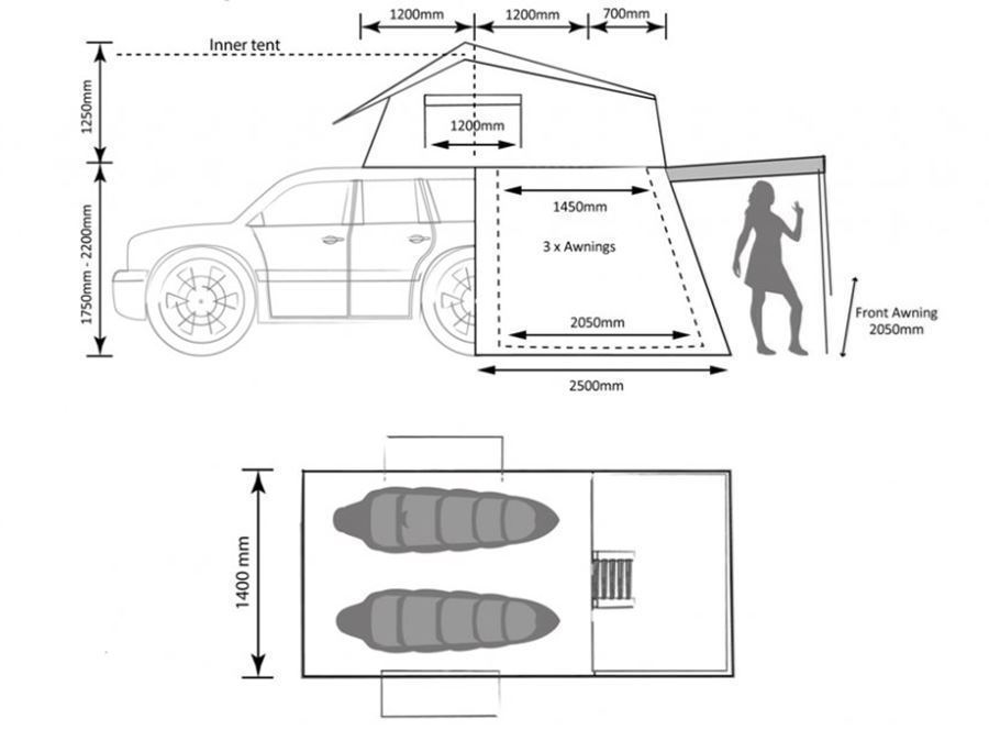 Darche Hi-View Rooftop Tent Dimensions