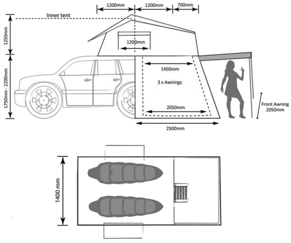 Darche Panorama 2 Rooftop Tent Plus Annex Dimensions