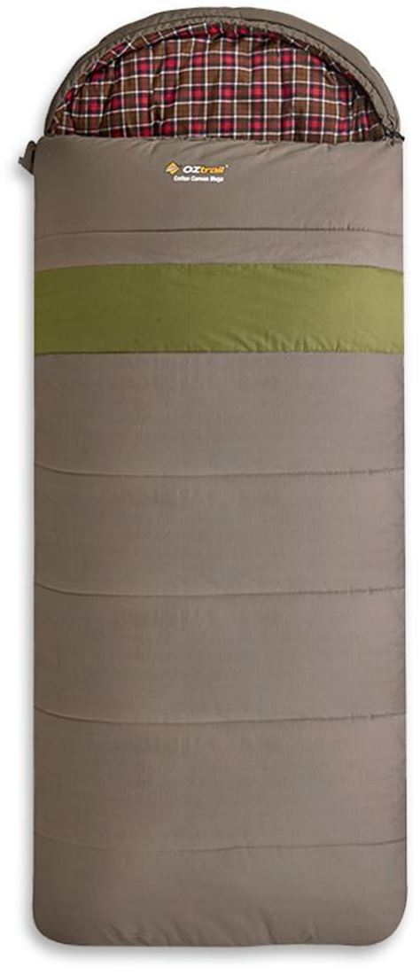 Oztrail Cotton Canvas Mega Sleeping Bag Brown with Green Stripe