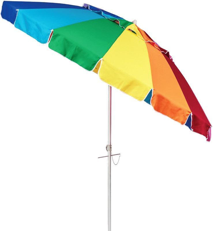 Beachkit Rainbow Multi Colour 240cm Umbrella Angled