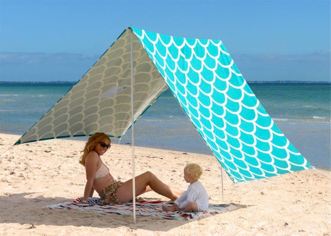 Hollie & Harrie Sombrilla Beach Shade Aqua Shells