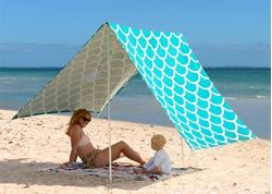 Hollie & Harrie Sombrilla Beach Shade Aqua Shells
