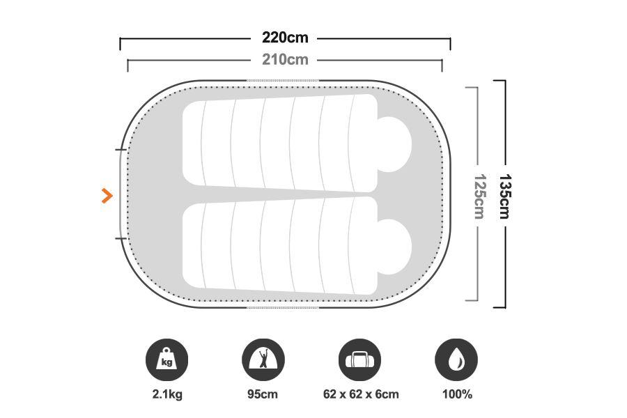 Blitz 2 Pop Up Tent - Floorplan