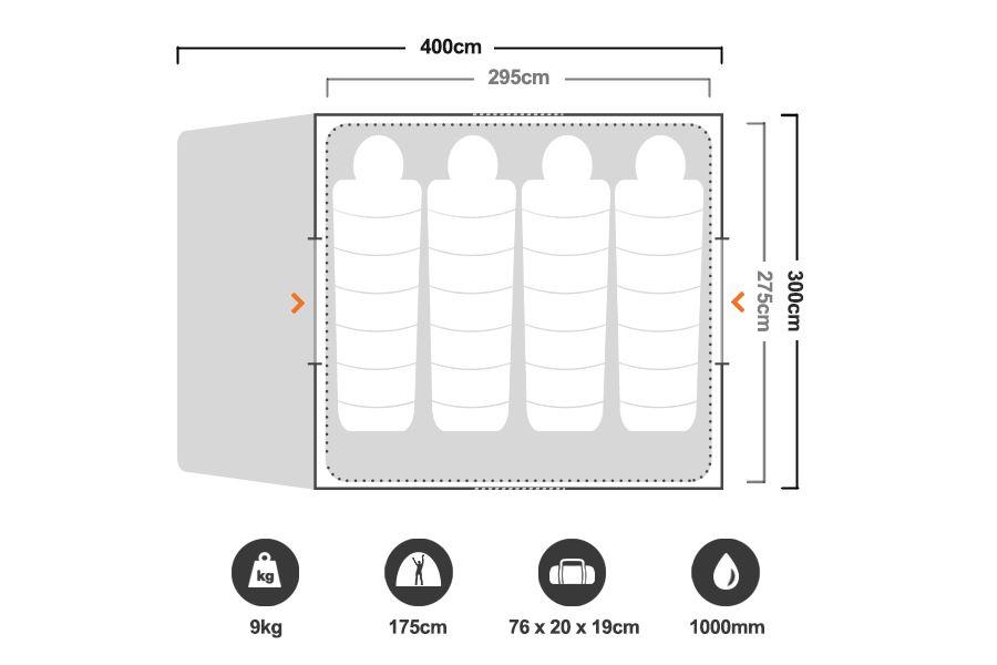 Escape 6 Dome Tent - Floorplan
