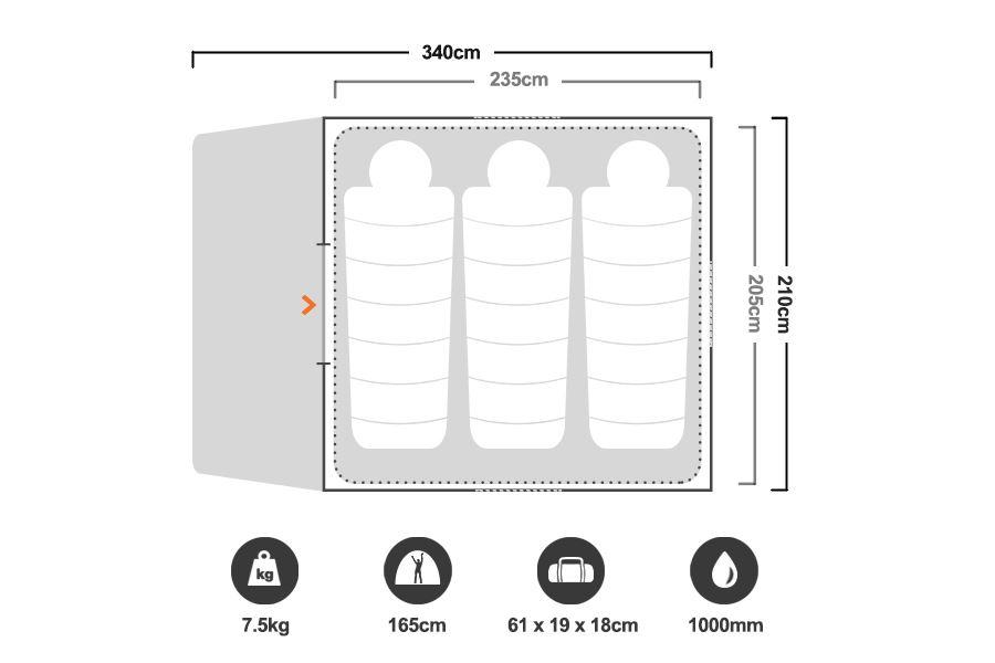 Escape 4 Dome Tent - Floorplan