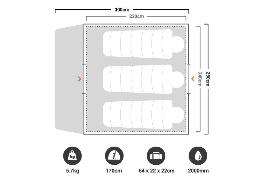 Skygazer 4XV Dome Tent - Floorplan