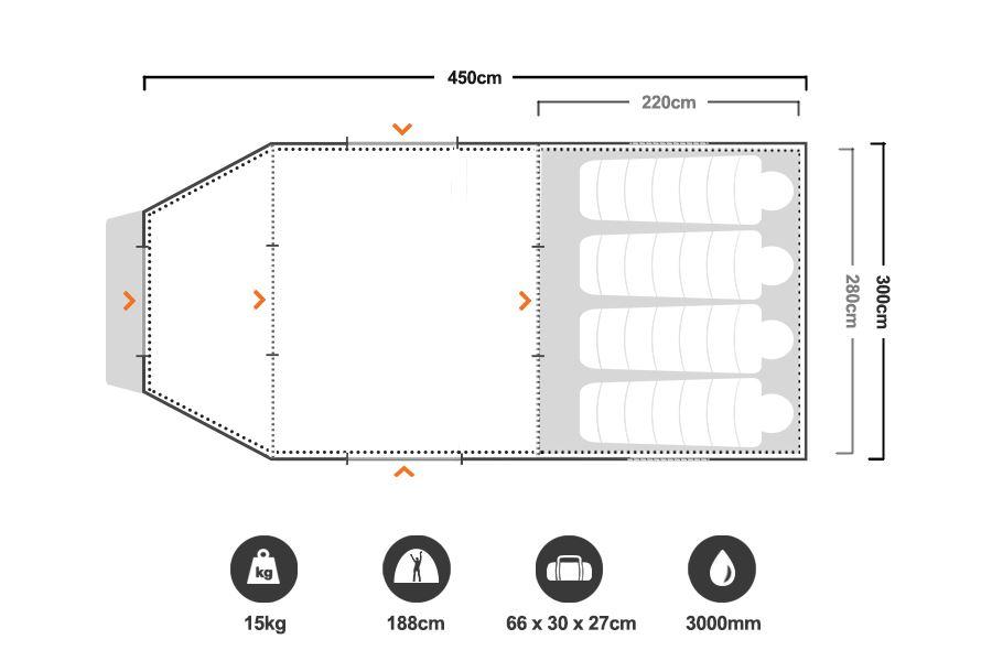 Neo 8+ Dome Tent - Floorplan