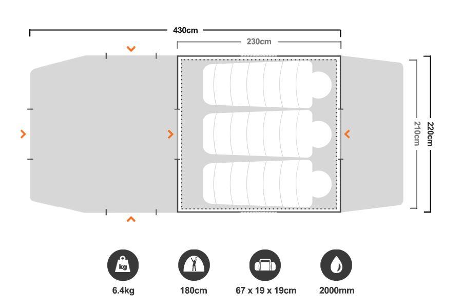 ... Tasman 4V Plus Dome Tent S16 - Floorplan  sc 1 st  Snowys & Oztrail Tasman 4V Plus Dome Tent S16 | Snowys Outdoors