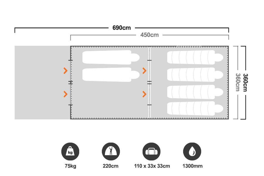 12 x 15 Cabin Tent - Floorplan