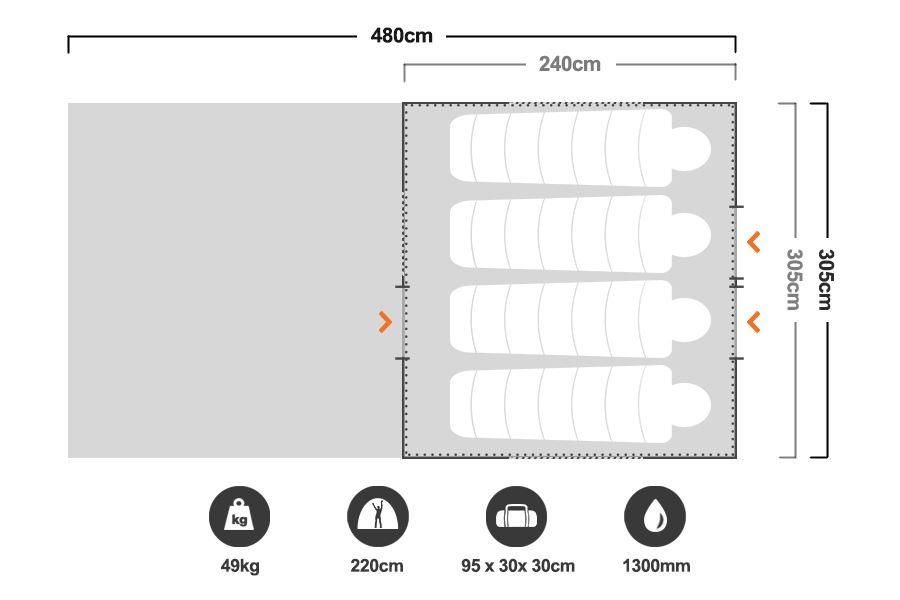 10 x 8 Cabin Tent - Floorplan