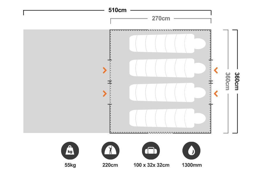 12 x 9 Cabin Tent - Floorplan