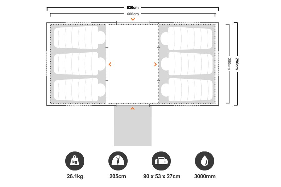 Chalet 9 CV Family Dome Tent - Floorplan