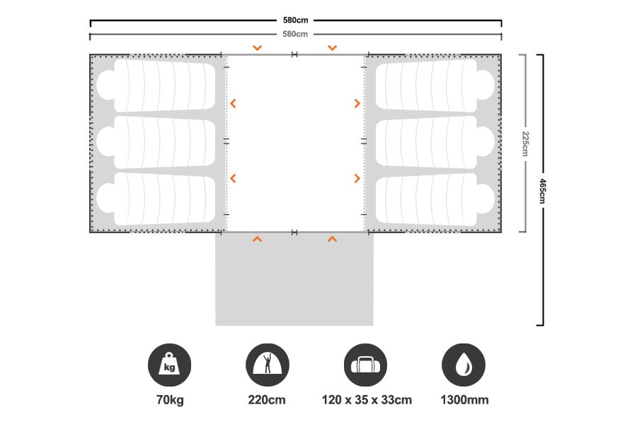 Chateau 10 Cabin Tent - Floorplan