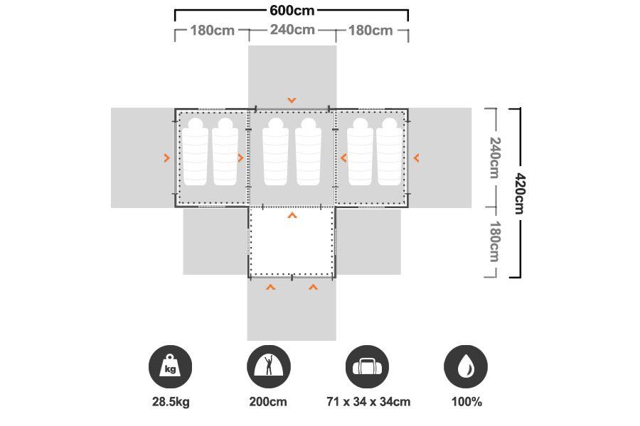 Family 12 Dome Tent - Floorplan