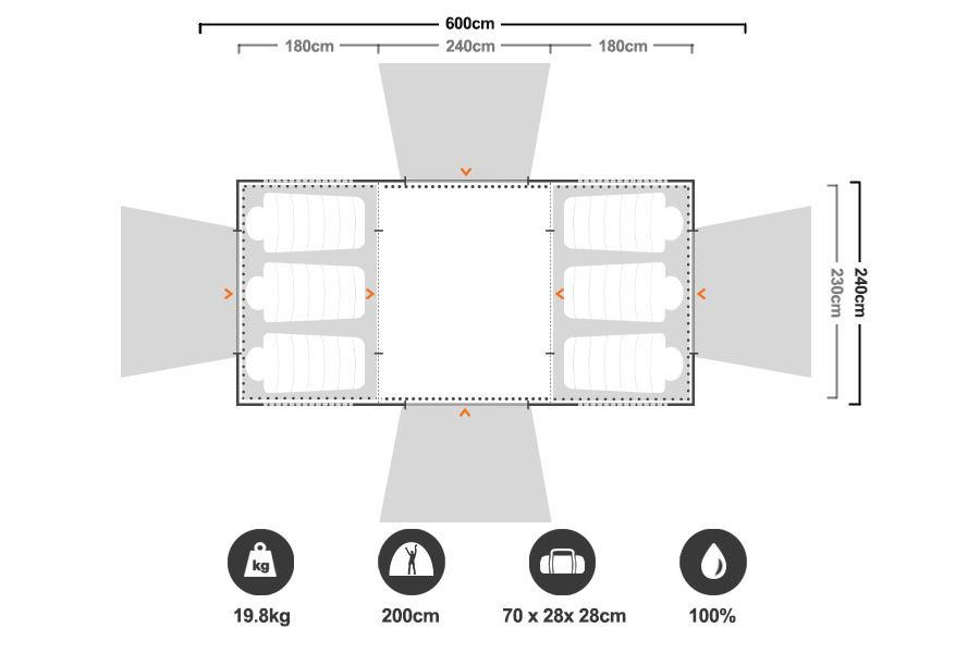 Family 10 Dome Tent - Floorplan