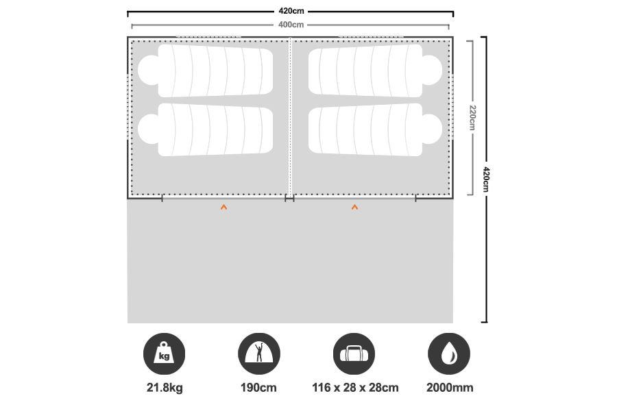 Tourer 420 Fast Frame Tent - Floorplan
