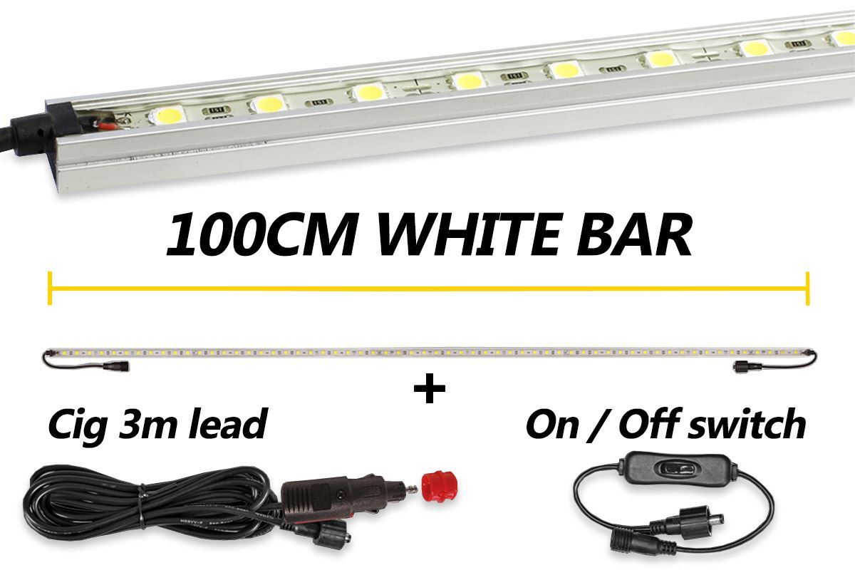 Hard Korr 100cm White LED Light Bar + Cig. Lead