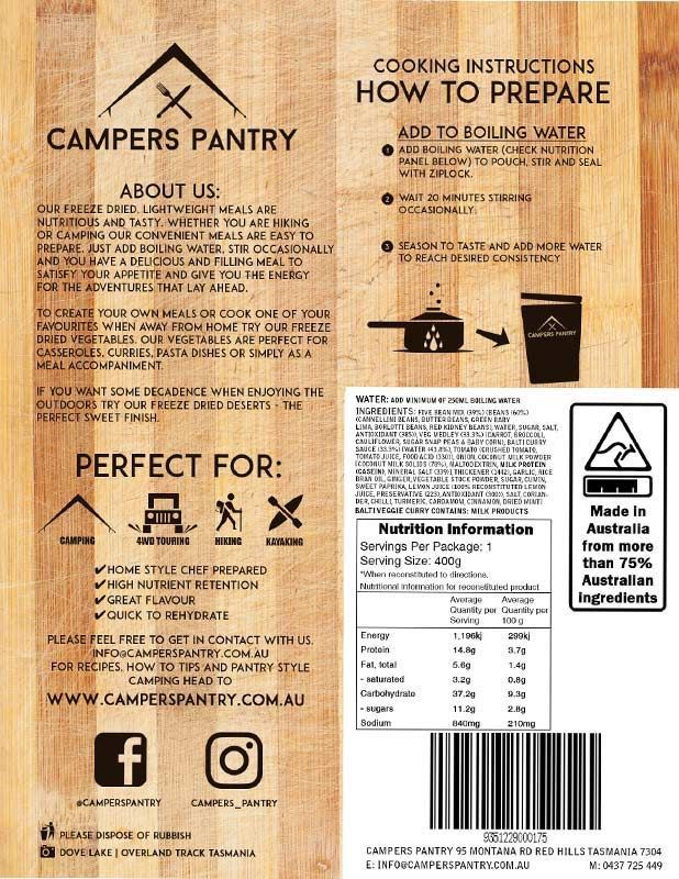 Campers Pantry Balti Vegetable Curry Nutritional Information