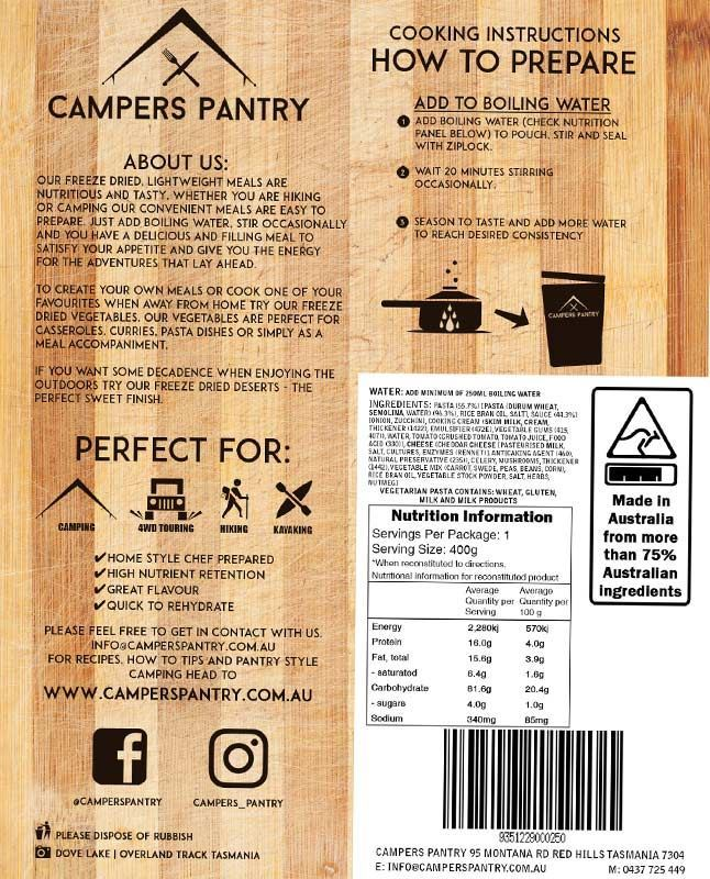 Campers Pantry Vegetarian Pasta Nutritional Information