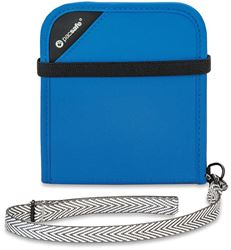 Pacsafe RFIDsafe V100 Bi-Fold Travel Wallet Blue