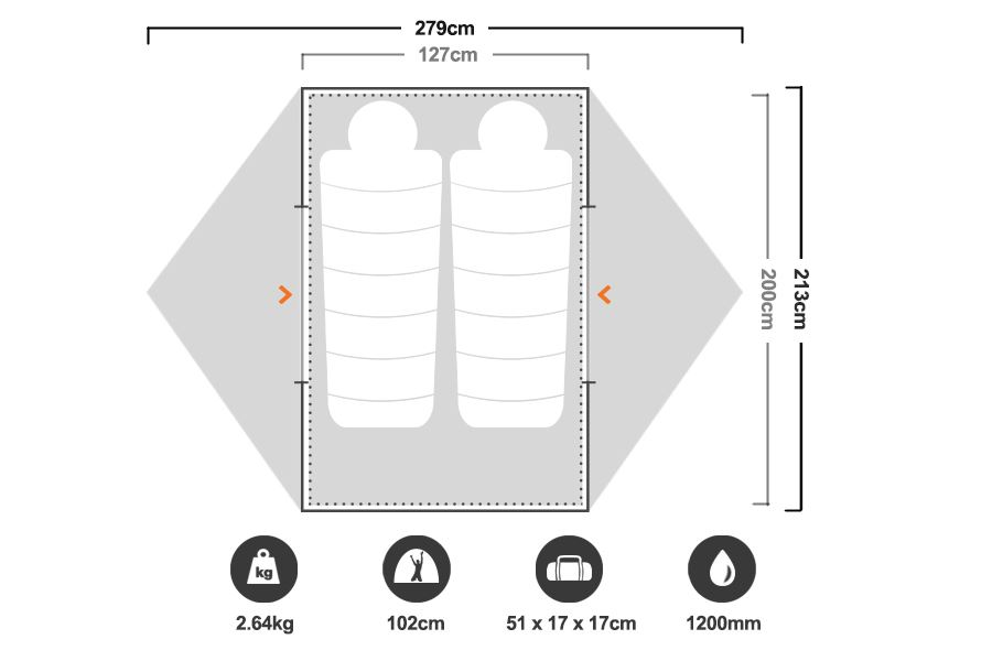 Elixir 2 Hiking Tent - Floorplan