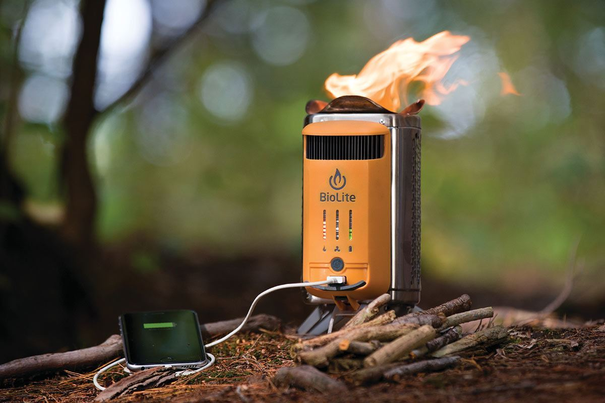 Biolite CampStove Wood Hiking Stove - Charging Phone