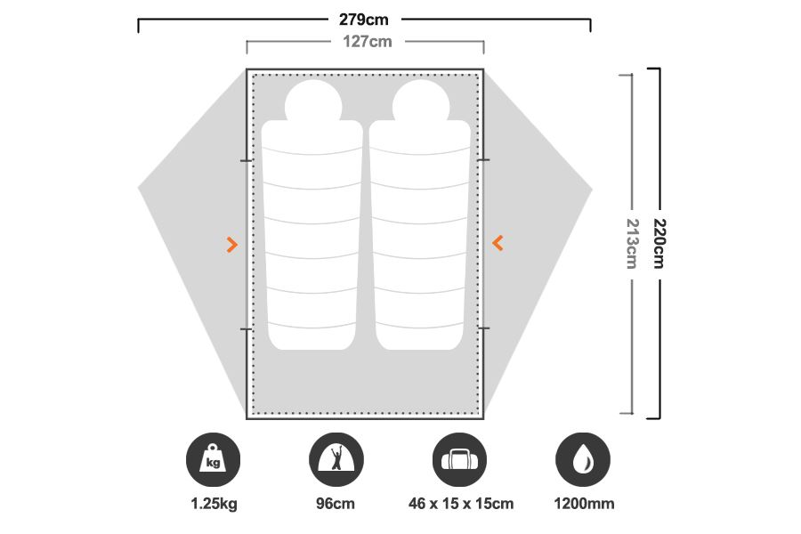 Freelite 2 Hiking Tent - Floorplan