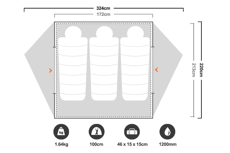 Freelite 3 Hiking Tent - Floorplan