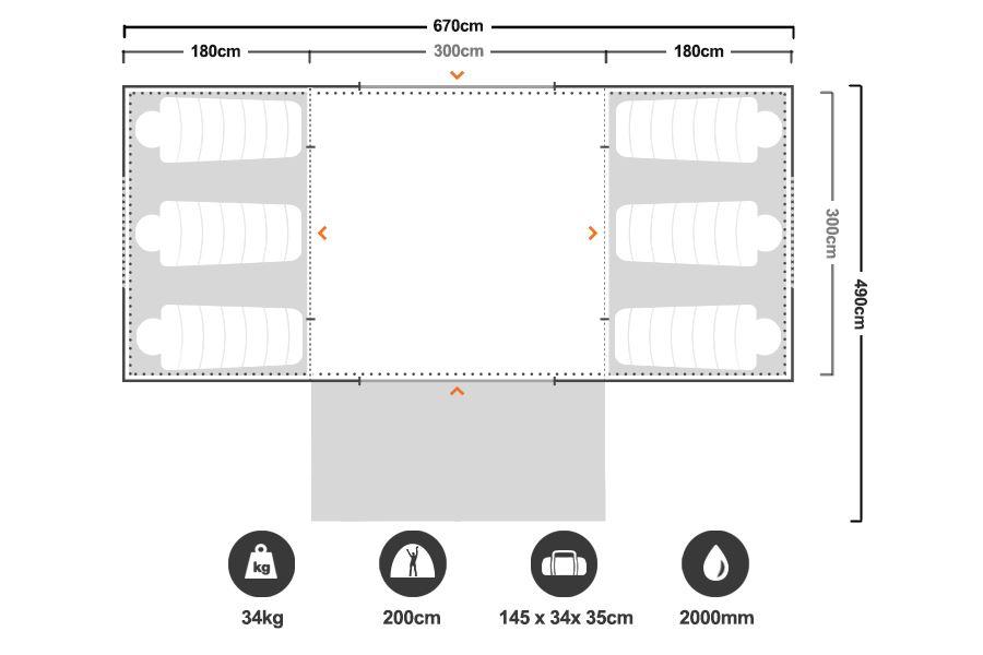 Turbo Lite Twin 300 Tent - Floorplan