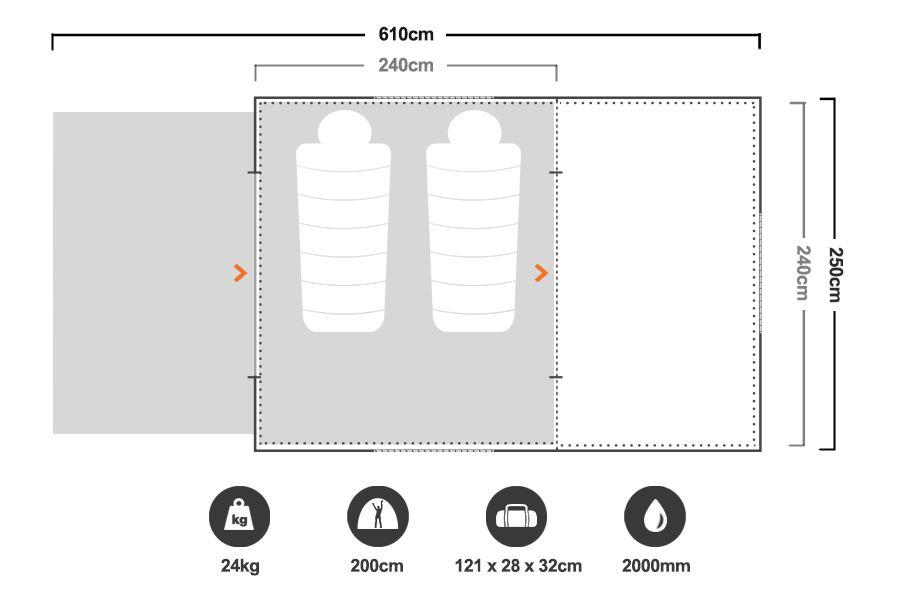 Turbo Lite Plus 240 Tent - Floorplan