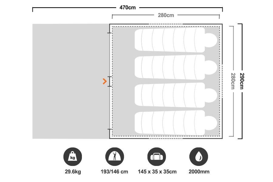 Speedy 6 Earth Tent - Floorplan