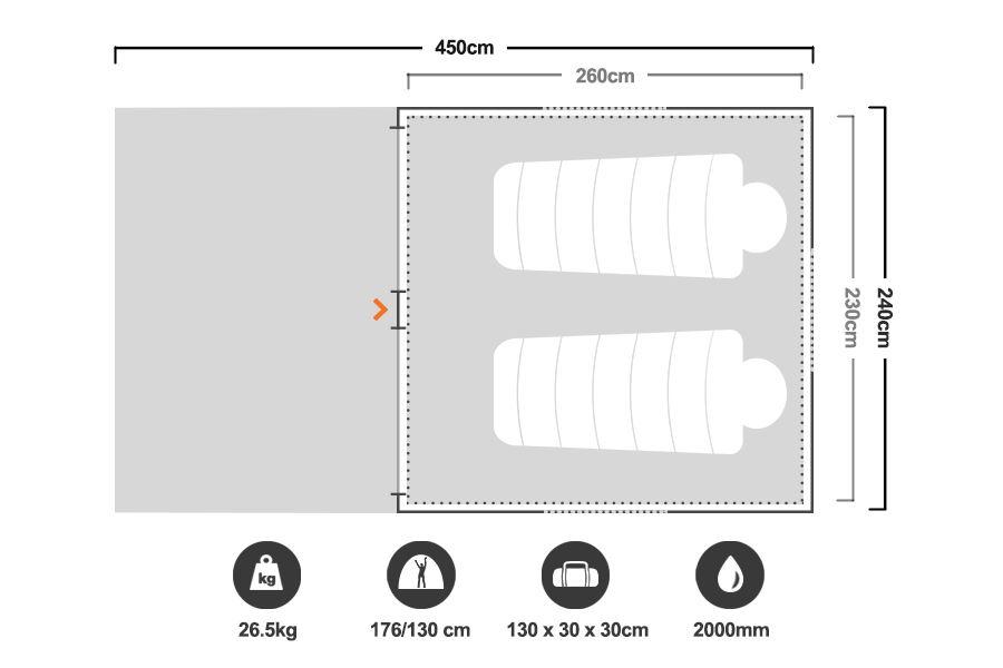 Speedy 4 Earth Tent - Floorplan