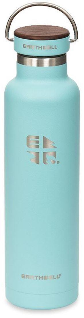 Earthwell Woodie Vacuum Bottle 650 ml Walnut Cap Aqua Blue