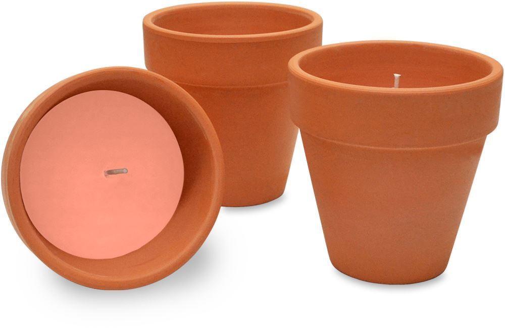 Waxworks Orange Citronella Candle Terracotta Pot 3 Pk